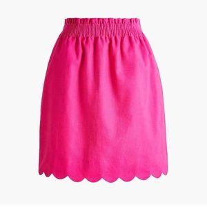J. Crew Scalloped Linen-Cotton Skirt